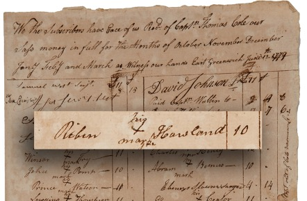 Mark of Robin Howland – military company Payroll June 12, 1779