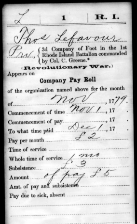 Military payroll card for Thomas Lefavour for the month of November 1779. Courtesy of the East Bay BIPOC Research Committee